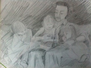 Mark reading to Lottie, Leon and Frida
