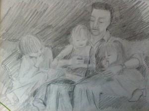 Mark reading to Lottie, Leon and Frida