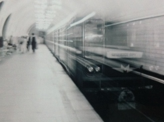Train pulling into the Moscow Metro, Russia.