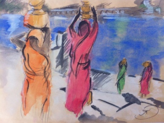 Women carrying water from Puskhar Lake in the early morning sun in Pushkar, Rajasthan, India