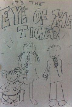"Lottie, Leon and Frida in their rock band, belting out the classic ""Eye of the Tiger"""