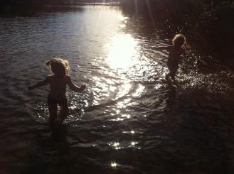 Lottie and Frida - Wild swimming in the lake at Domarudden near Åkersberga.