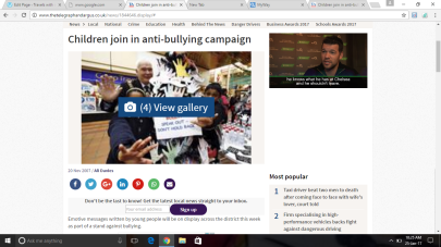 Article about an Anti-Bullying Campaign for the Telegraph and Argus