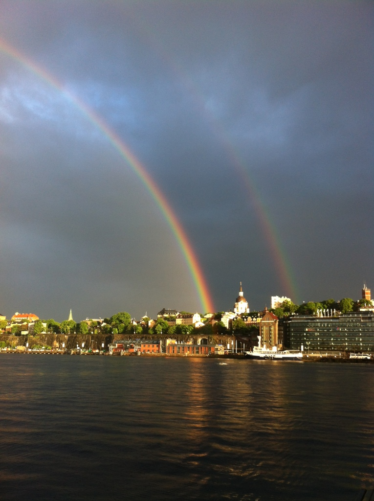 A double rainbow over Saltsjön in Stockholm.