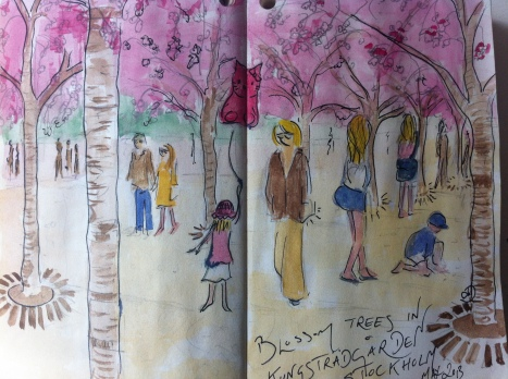 Under the blossom Trees in Kungsträdgården, Stockholm – from my Sweden sketchbook.