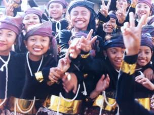 Girls on carnival day in Yogyakarta, Java.