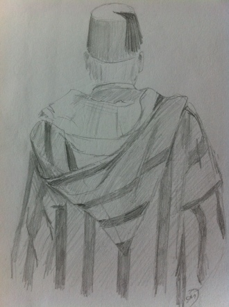 Man in a Djellaba and Fez in Souk Cherifia, Marrakech from my Morocco Sketchbook.