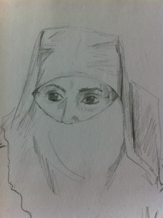 Woman in Souk Cherifia, Marrakech from my Morocco Sketchbook.