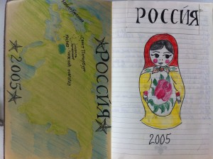 A matryoshka doll and map of Russia - from my Russia sketchbook.
