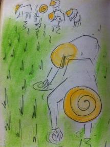 Rice paddy fields near Yogyakarta from my Java Sketchbook.