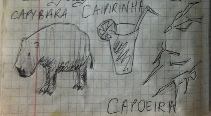 Capybara, Caipirinha, Capoeira - from my Brazil sketchbook.