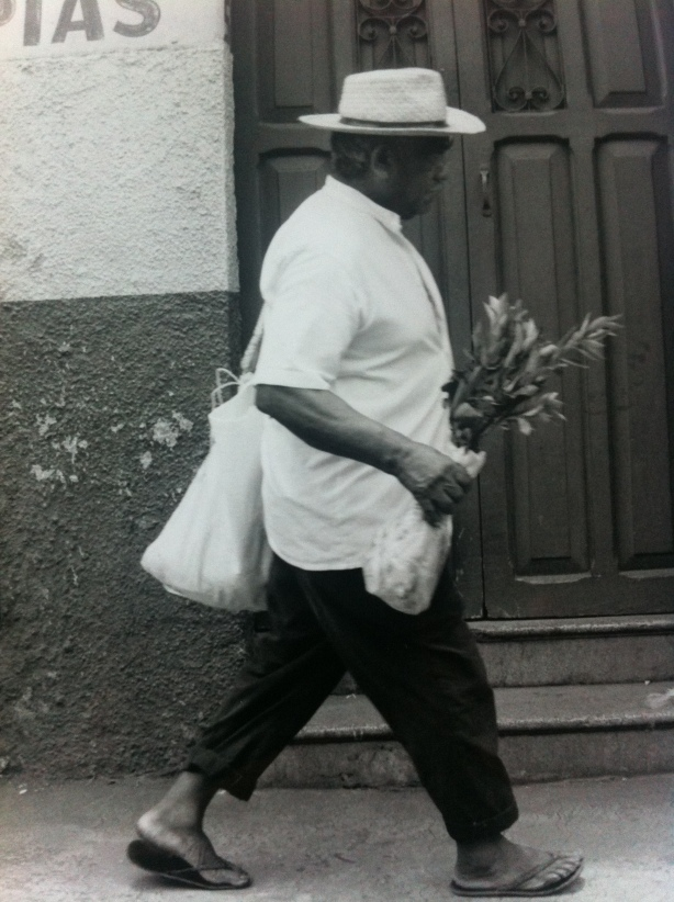 Mexican man with flowers in Merida