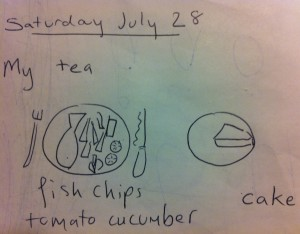 An example of my tea as drawn by me, aged 8, from one of my my holiday diaries.