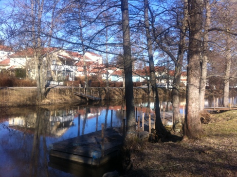 View of our house in Slussbrovägen, from across Åkers Canal.