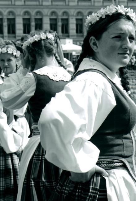 Folk singers wait their turn at Europeade the European Folk Festival in Riga, Latvia.