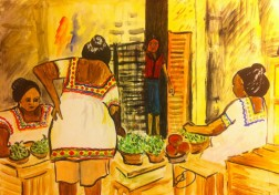 Women in the market in Merida, Mexico.
