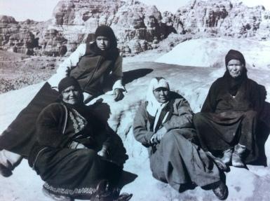 Sharing tea with Bedouin women in Petra in Jordan.