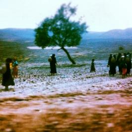 Women walking in rural Morocco.
