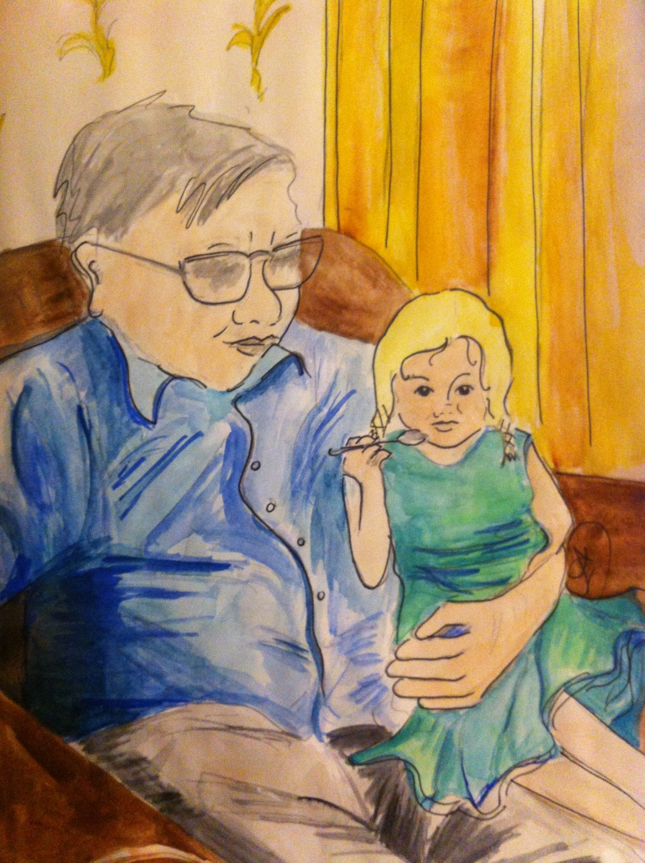 Frida with Grandad Bill in Scarborough in watercolour.