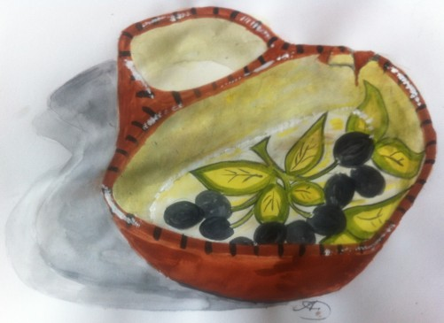 My Portuguese pottery Olive dish.