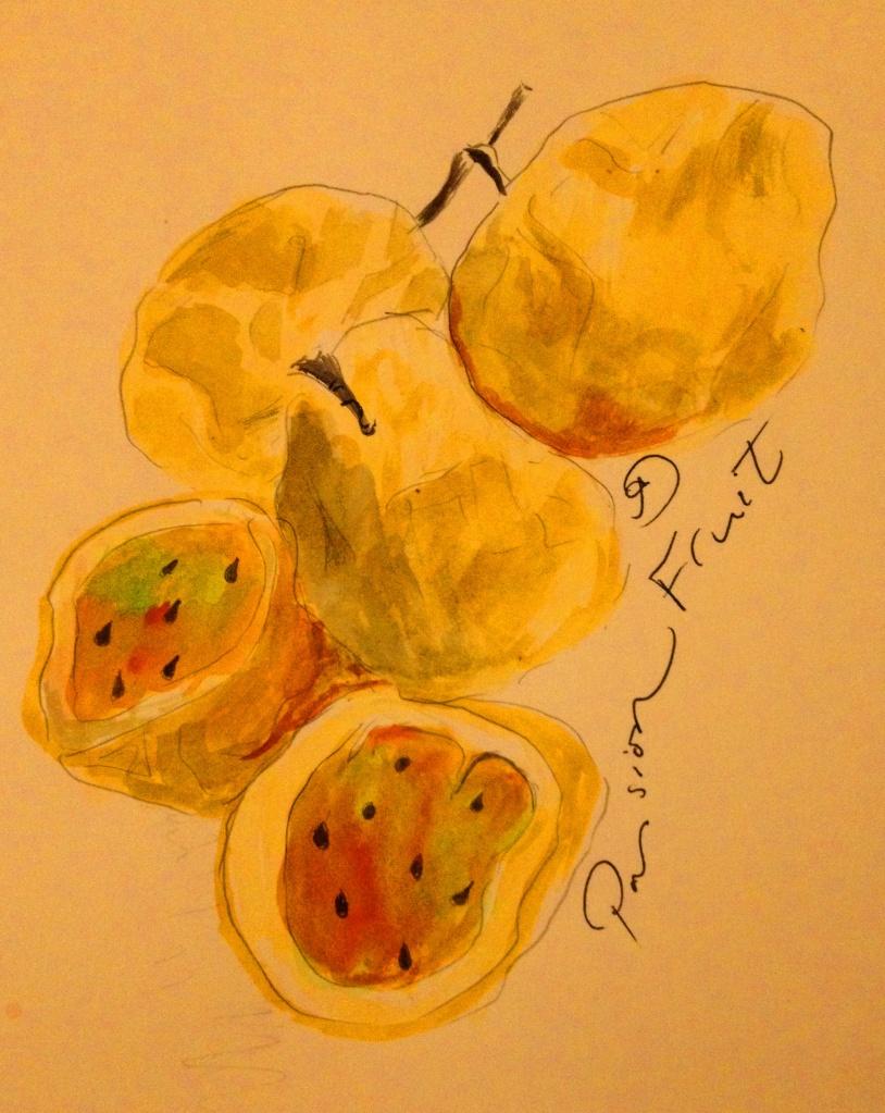 Passion Fruits in watercolour, Tanzania.