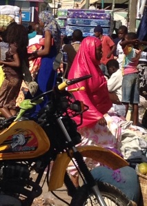 Christmas shopping on Rwagasore Road near the Central Market in Mwanza, Tanzania.