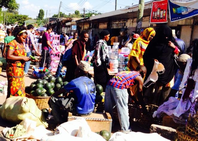 Christmas Shopping on Market Street in Mwanza, Tanzania.