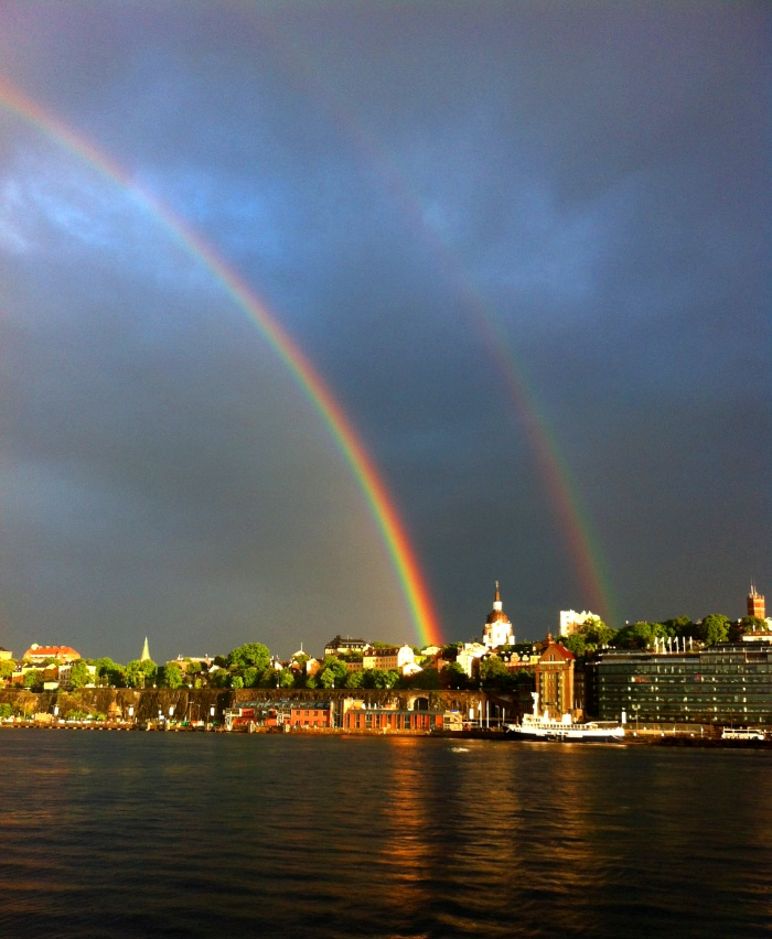A double rainbow over  Saltsjön in Stockholm