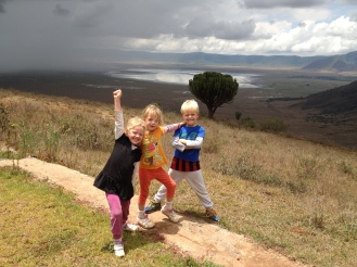 Frida, Lottie and Leon on the edge of the Ngorogoro Crater.