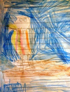 Four-year-old Frida's sketch of a fishing bird.