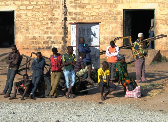 Passengers waiting at Tabora station - On the train from Mwanza to Dar Es Salaam, Tanzania.