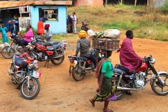 Piki-pikis waiting at Morogoro - On the train from Mwanza to Dar Es Salaam, Tanzania.