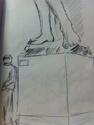 My sketches from the Cast Courts at London's Victoria and Albert Museum from my England Sketchbook.