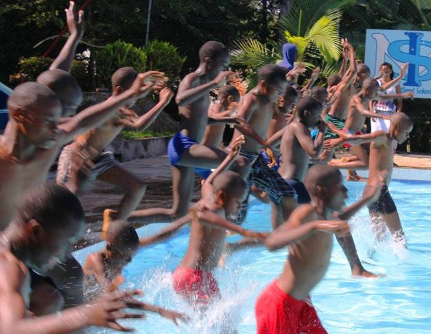 Moja, Mbili, Tatu, Jump. Kids enjoying Saturday School at Isamilo International School in Mwanza, Tanzania.