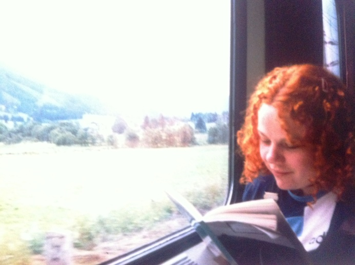 Ali on one of her first adventures, interrailing around Europe, coincidentally reading Graham Greene's 'Travels with my Aunt'