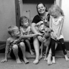 Leon, Lottie, Ali, Primo, Maya and Frida on the back door step of our house in Mwanza, Tanzania.