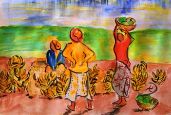 Women selling bananas in Kisii, Kenya