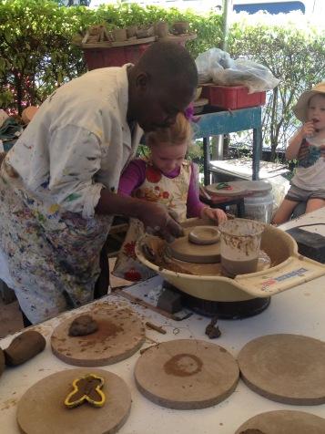 Frida doing some pottery at the Nairobi Art Centre