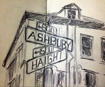 Sketch of Haight Ashbury Street Corner in San Francisco from my United States of America Sketchbook