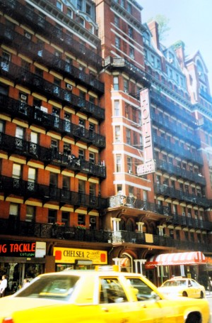 The Yellow New York Cab in front of the Chelsea Hotel