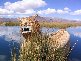 Barco de totora (traditional reed boat) on Lake Titicaca in Peru