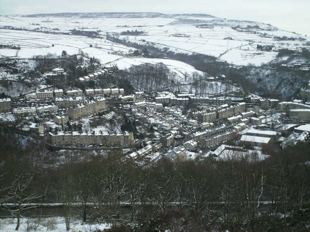 The from Heptonstall down to Hebden Bridge and the Calder Valley