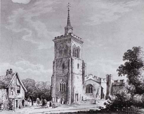 A drawing of St Mary's Baldock, 1852