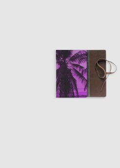 Pink Palm Trees - leather journal