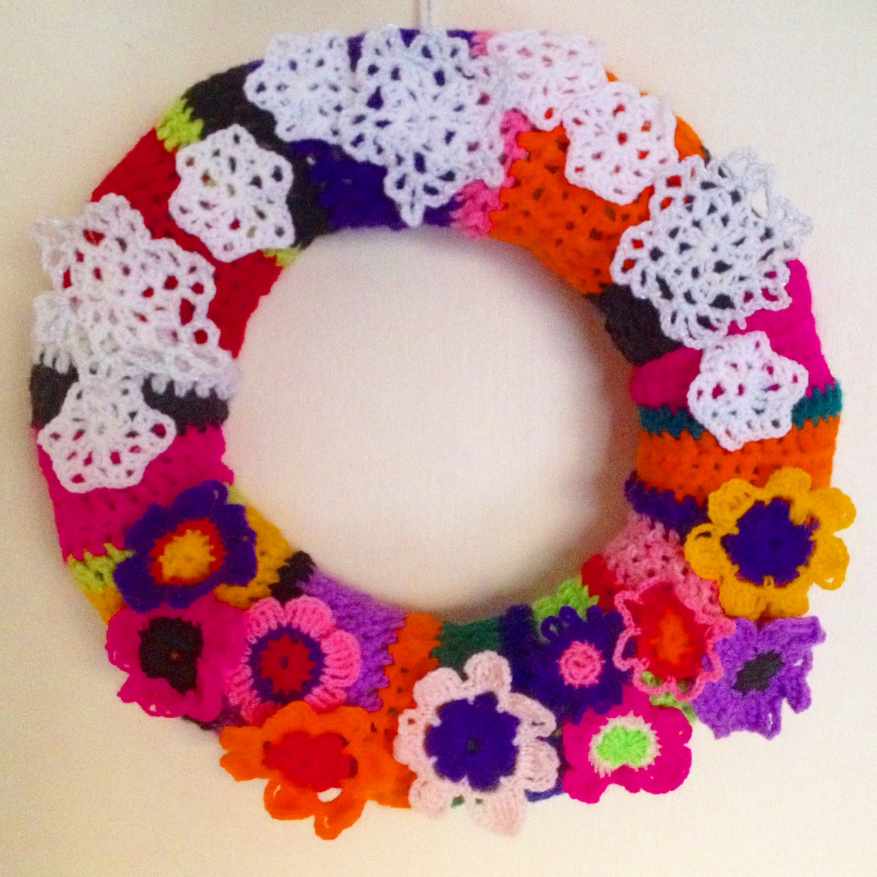 My Crochet Christmas Wreath made from Recycled Plastic Bottles